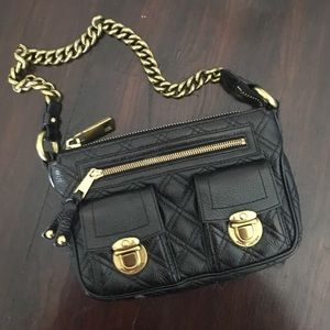 Marc Jacobs gold chained & black quilted bag